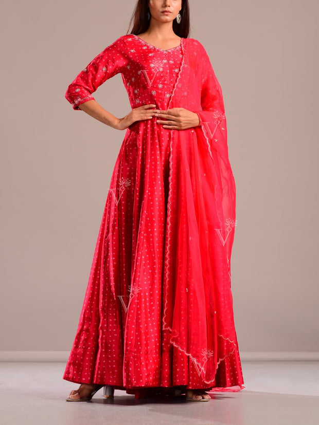 Scarlet Red Bandhani Embroidered Silk Gown