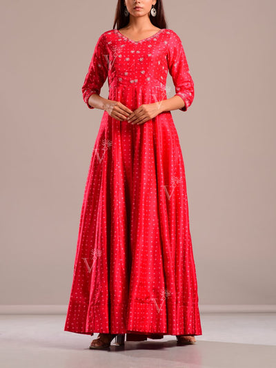 Anarkali, Anarkalis, Gown, Gowns, Floor length, Embroiderey, Bandhej, Bandhani, Rajasthani, Jaipuri, Party wear, Printed, Red, Traditional, Traditional wear