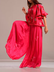 Hot Pink Off One Shoulder Palazzo Set
