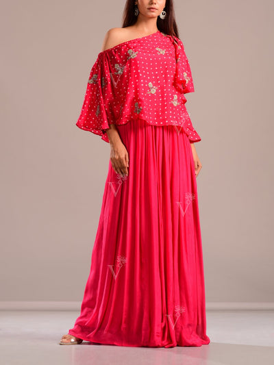 Indo western, Fusion wear, Skirt, Off shoulder, Silk, Embroidered, Bandhani, Bandhej, Rajasthani Jaipuri, Party wear, Printed
