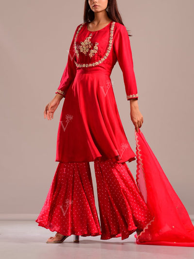 Crimson Red Embroidered Sharara Ser
