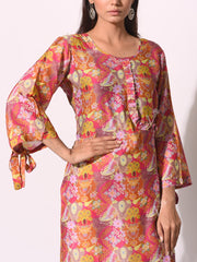 Multi Color Printed Cotton Silk Kurti