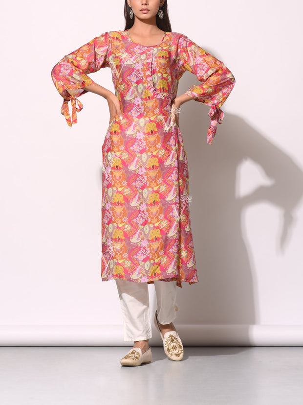 Kurta, Kurtis, Kurtis, Printed, Angrakha, Cotton, Silk, Cotton silk, Traditional, Straight, Traditional outfit, Traditional wear, Regular wear, Casual wear