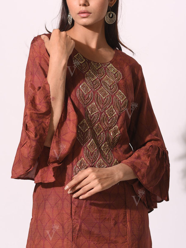 Rust Brown Embroidered Bodice Kurti