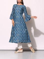 Steel Blue Cotton Silk Printed Kurti