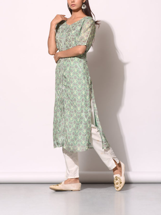Sage Green Cotton Silk Printed Kurti