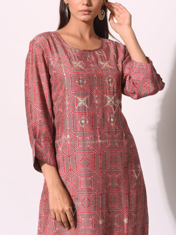 Onion Pink Cotton Dori Printed Kurti