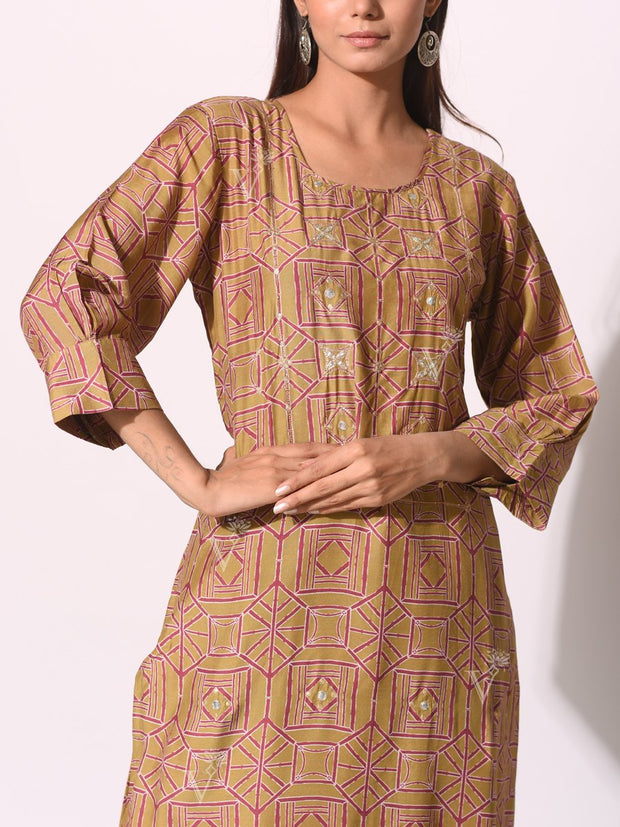 Brown Cotton Dori Printed Kurti