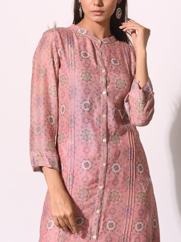 Blush Pink Cotton Silk Printed Kurti