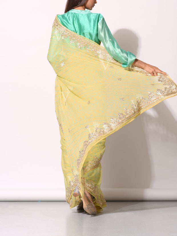 Lime Green Pure Georgette Saree