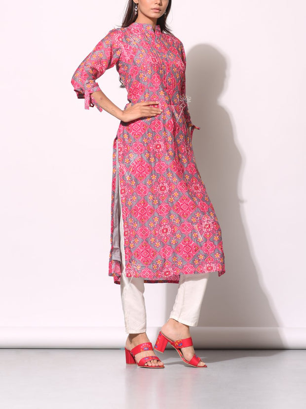 Pink And Grey Patola Printed Kurti