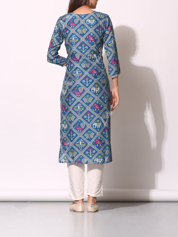 Blue And Grey Patola Printed Kurti
