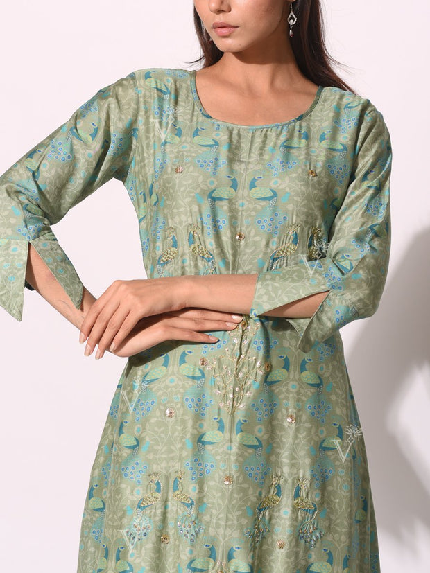 Sea Green Cotton Printed Kurti