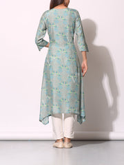 Greyish blue Cotton Silk Printed Kurti