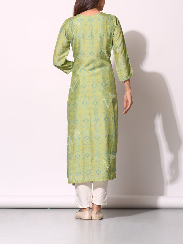 Light Green Cotton Silk Printed Kurti