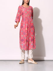 Pink Cotton Silk Patola Printed Kurti