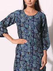Navy Blue Chanderi Printed Kurti