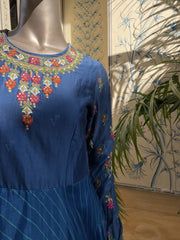 Mid Night Blue Leheriya Silk Anarkali Gown Jan28