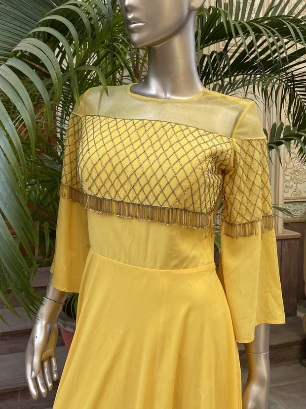Yellow Embellished Evening Gown Jan28