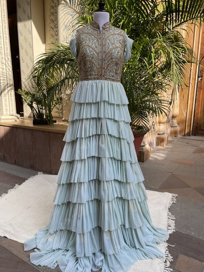 Gown, Gowns, Evening gown, Anarkali, Anarkalis, Embellished, Party wear, Ruffle, Tiered