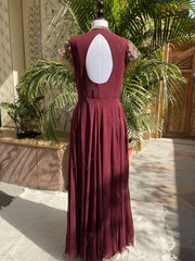 Wine Embellished Evening Gown Jan28