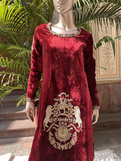 Traditional, Traditional wear, Traditional outfit, Embellished, Velvet, Kurta, Kurta set, SampleSale, dropship
