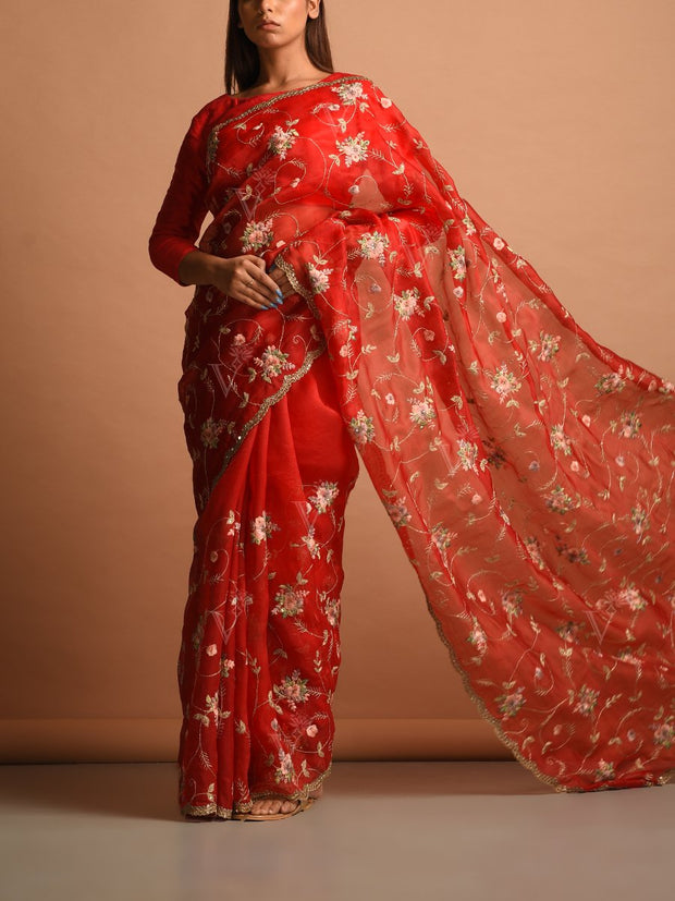 Red Georgette Organza Saree