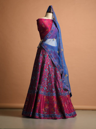 Pink Silk Printed Lehenga Set