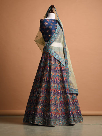 Blue Silk Printed Lehenga Set