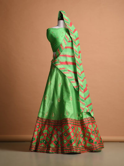Light Green Silk Printed Lehenga Set