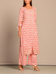 Pink Printed Kurta Set
