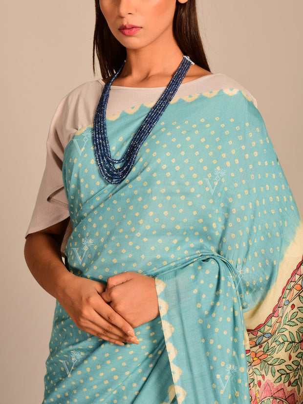 Limited Edition Light Blue Silk Bhandej Madhubani Printed Saree