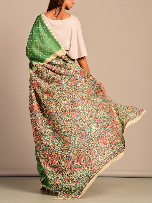 Limited Edition Green Silk Bhandej Madhubani Printed Saree