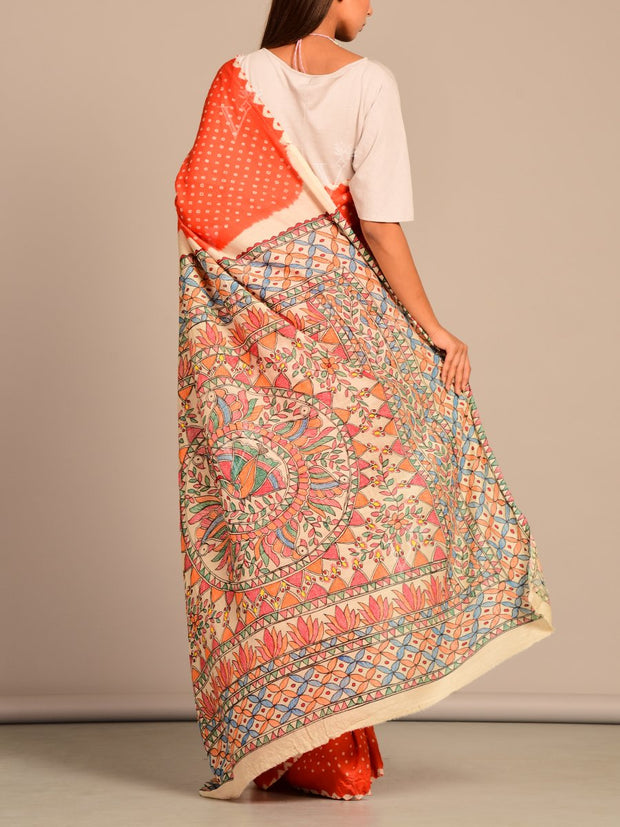 Limited Edition Orange Silk Bhandej  Madhubani Printed Saree