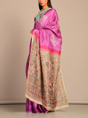 Limited Edition Purple Tussar Bhandej Madhubani Printed Saree