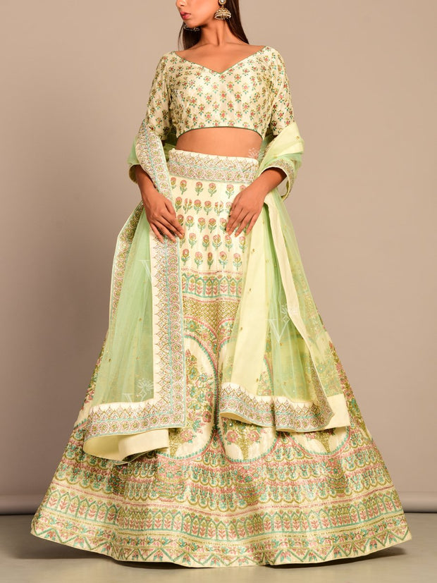 Off White Pearl Brush Printed Lehenga Set