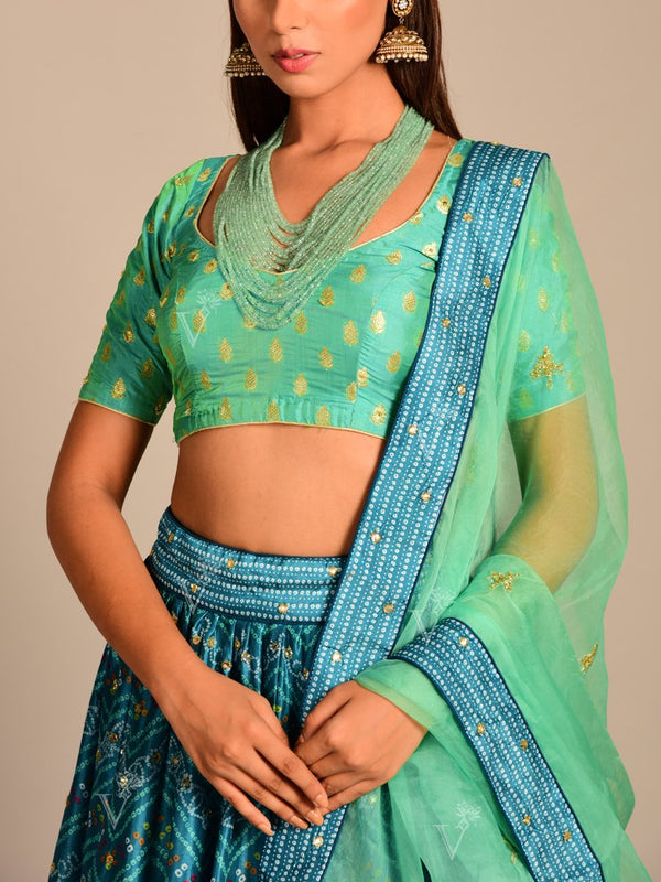 Blue Printed Silk Lehenga Set