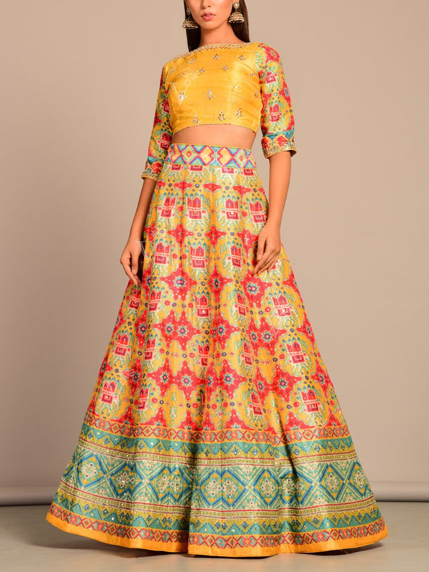 Yellow Patola Printed Lehenga Set