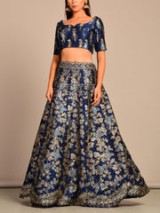 Deep Blue Pearl Brush Printed Lehenga Set