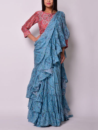 Sarees, Saree, Drape Sarees, Drape Saree, Bandhani, Bandhej, Casual Wear, Light Wear, Fusion Wear