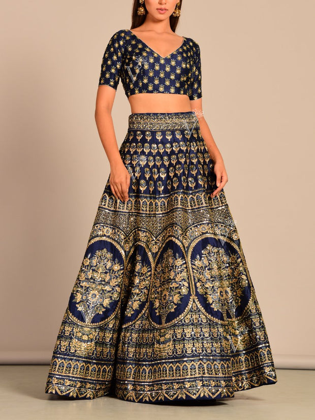 Blue Silk Pearl Brush Lehenga Set