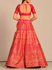 Red Silk Pearl Brush Lehenga Set