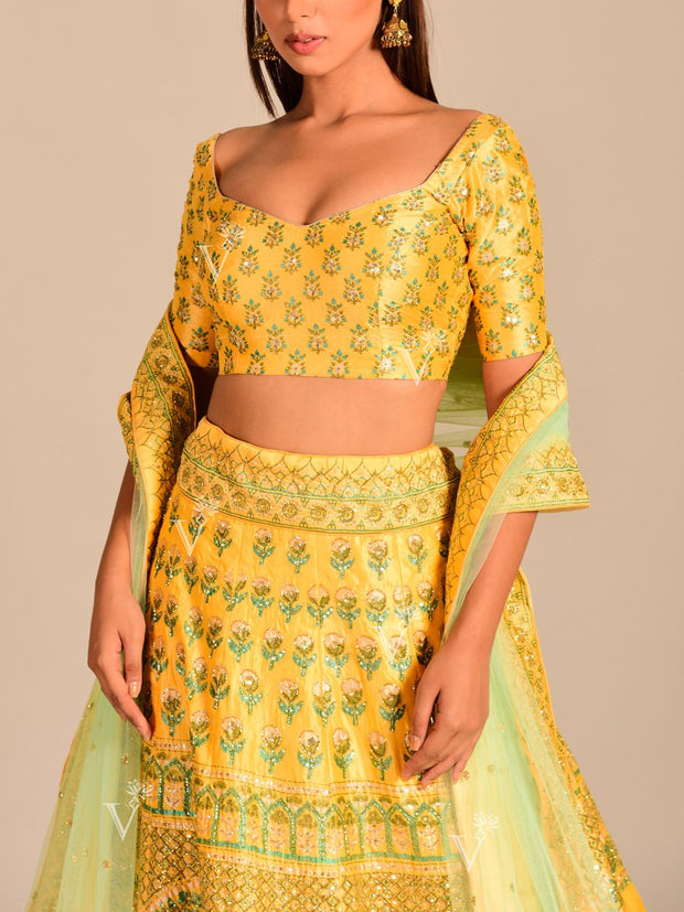 Yellow Silk Pearl Brush Lehenga Set