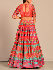 Multi Color Printed Silk Lehenga Set