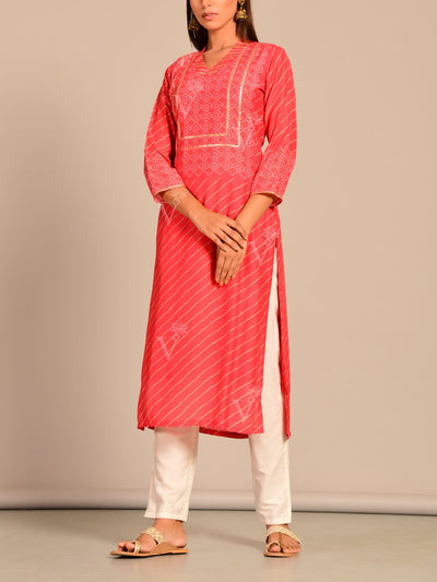 Red Leheriya Printed Kurti