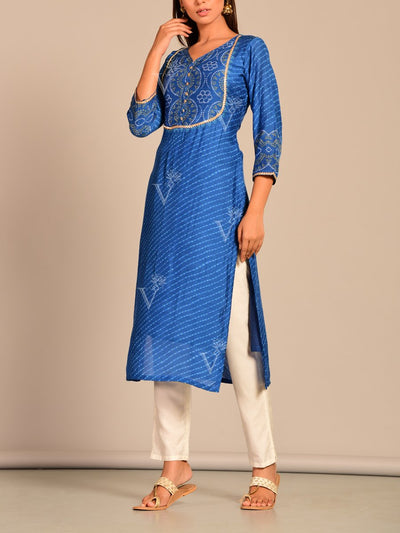Royal Blue Leheriya Printed Kurti