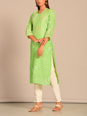 Light Green Leheriya Printed Kurti