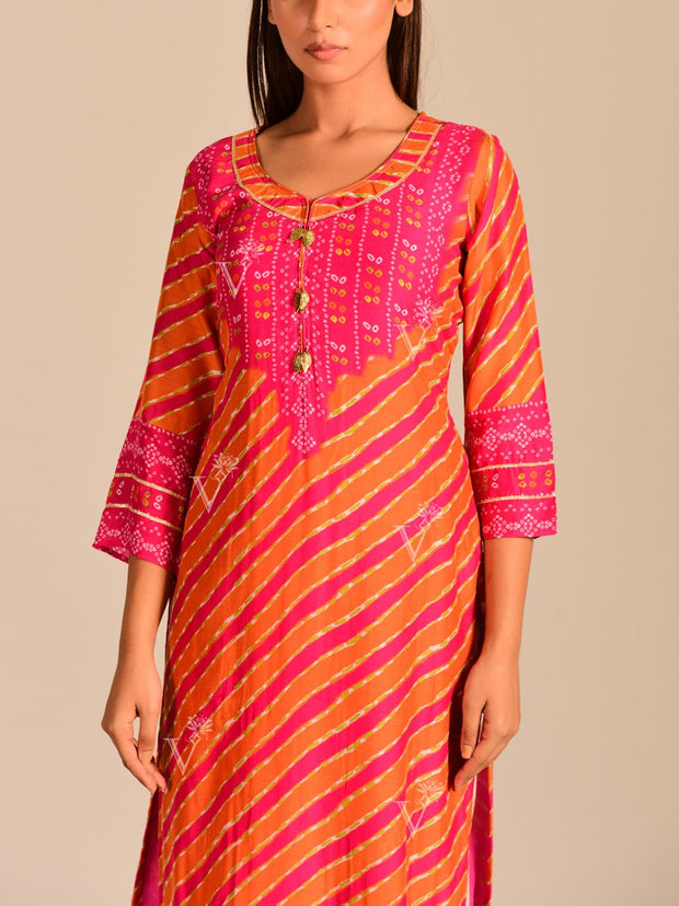 Orange Leheriya Printed Kurti