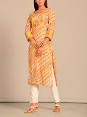 Yellow Leheriya Printed Kurti
