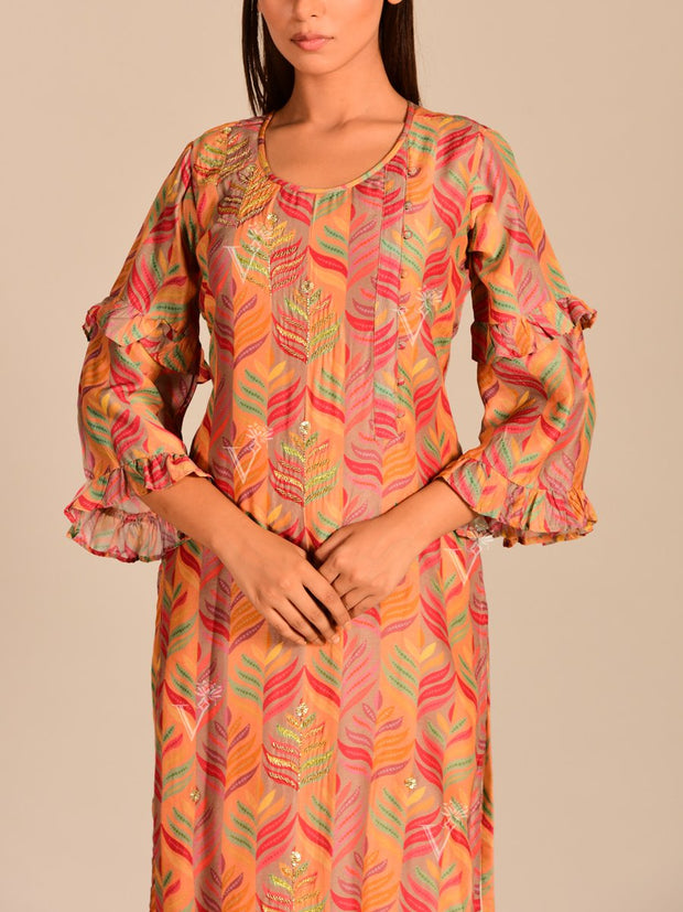Color Block Printed Silk Kurti